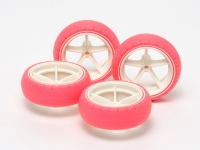 Large Dia. Narrow Fiberglass Wheels & Arched Tires (Fluorescent Pink)