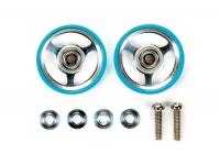 17mm Aluminum Rollers w/Plastic Rings (Light Blue)