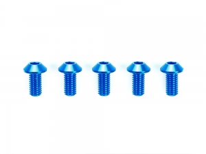 3x8mm Hi-Grade Aluminum Hex Head Screws (Blue, 5pcs.)