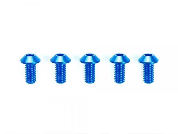 3x8mm Hi-Grade Aluminum Hex Head Screws (Blue, 5pcs.)