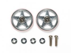19mm Aluminum Rollers (5 Spokes) w/Plastic Rings (Pink)