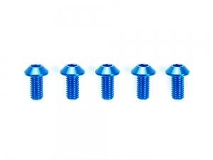 3x6mm Hi-Grade Aluminum Hex Head Screws (Blue, 5pcs.)