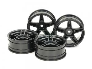 Medium-Narrow Twin 5-Spoke Wheels (24mm Width, Offset +2) (Black) 4pcs.