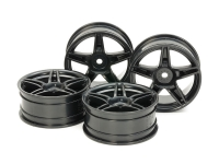 Medium-Narrow Twin 5-Spoke Wheels (24mm Width, Offset +2) (Black) 4pcs.